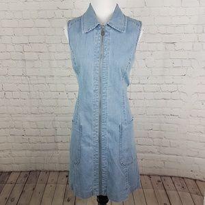 Hope & Harlow Zippered Jeans Dress w Large Pockets